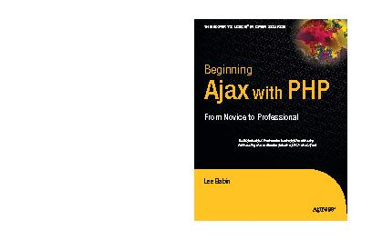 Beginning Ajax with PHP. From novice to professional