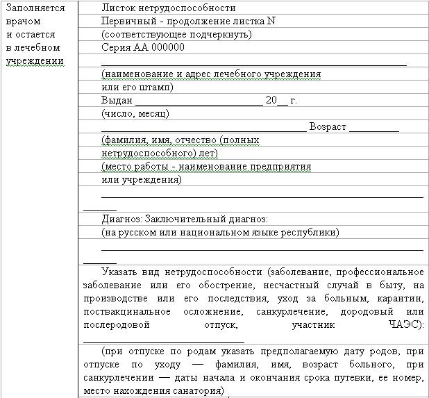 Инструкция О Порядке Выдачи Заполнения Листа Временной Нетрудоспособности